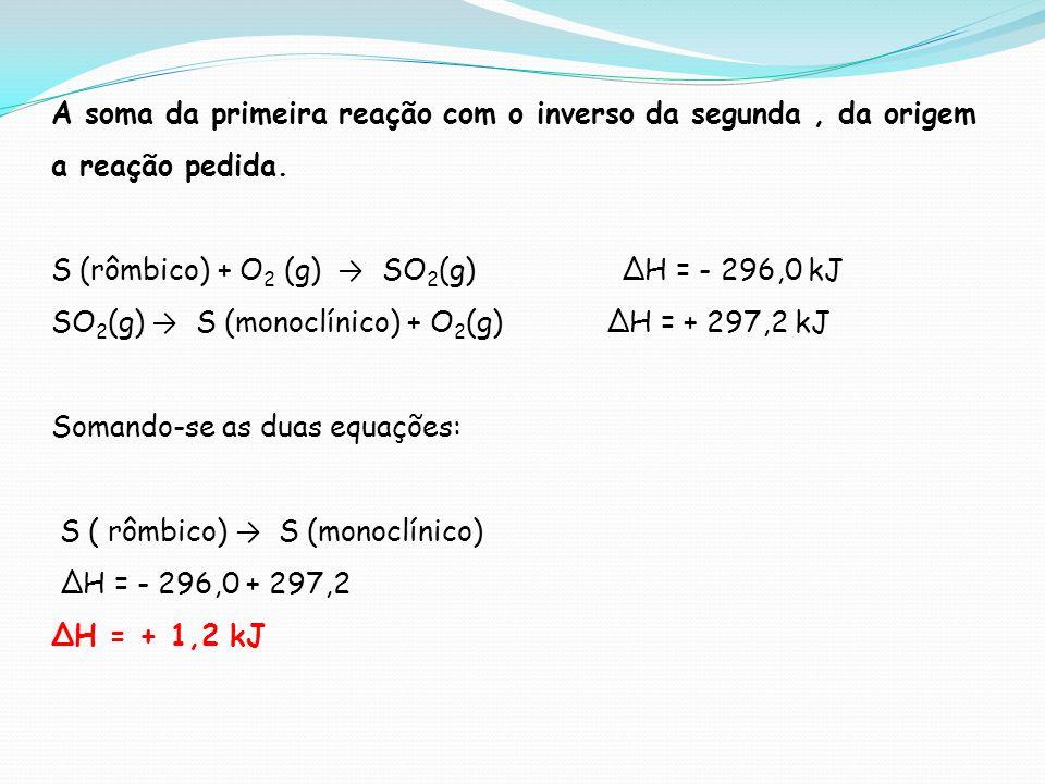 A soma da primeira reação com o inverso da segunda, da origem a reação pedida. S (rômbico) + O 2 (g) SO 2 (g) H = - 296,0 kJ SO 2 (g) S (monoclínico)