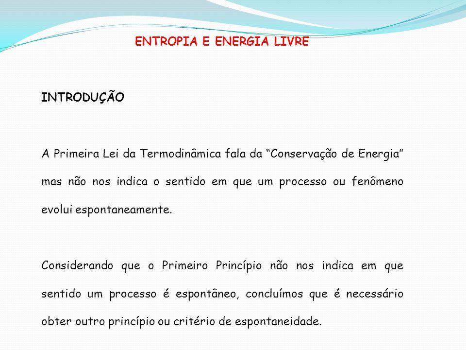 ENTROPIA E ENERGIA LIVRE INTRODUÇÃO A Primeira Lei da Termodinâmica fala da Conservação de Energia mas não nos indica o sentido em que um processo ou