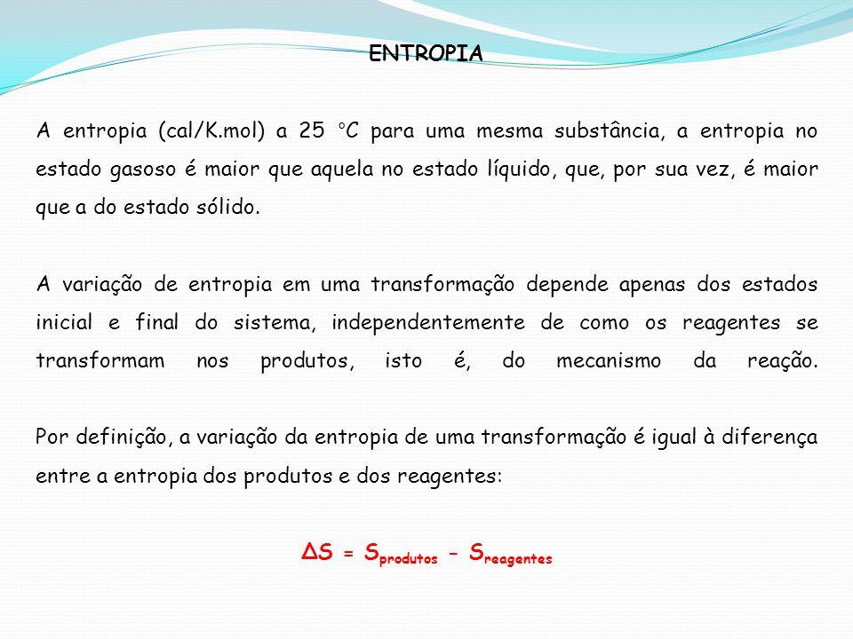 ENTROPIA A entropia (cal/K.mol) a 25 °C para uma mesma substância, a entropia no estado gasoso é maior que aquela no estado líquido, que, por sua vez,