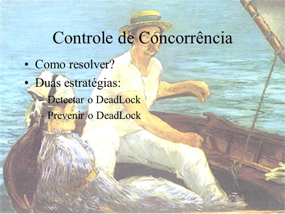 Como resolver Duas estratégias: –Detectar o DeadLock –Prevenir o DeadLock Controle de Concorrência