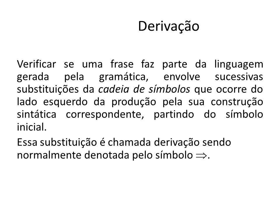 Derivação Verificar se uma frase faz parte da linguagem gerada pela gramática, envolve sucessivas substituições da cadeia de símbolos que ocorre do la