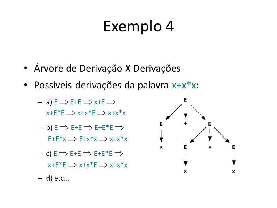 Exemplo 4 Árvore de Derivação X Derivações Possíveis derivações da palavra x+x*x: – a) E E+E x+E x+E*E x+x*E x+x*x – b) E E+E E+E*E E+E*x E+x*x x+x*x