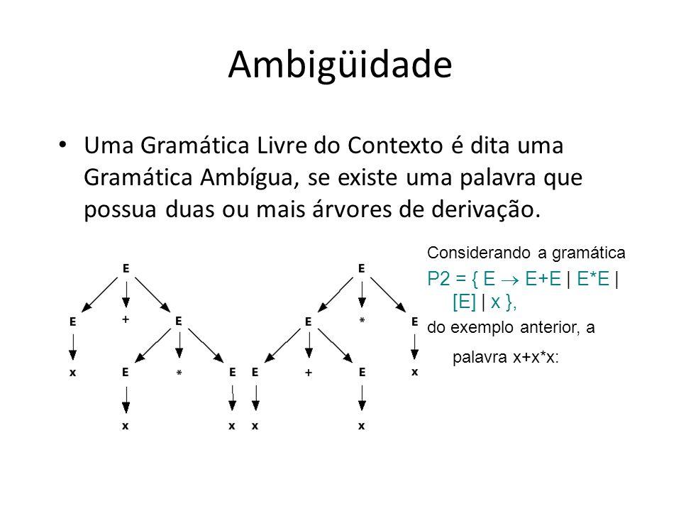 Ambigüidade Uma Gramática Livre do Contexto é dita uma Gramática Ambígua, se existe uma palavra que possua duas ou mais árvores de derivação. Consider