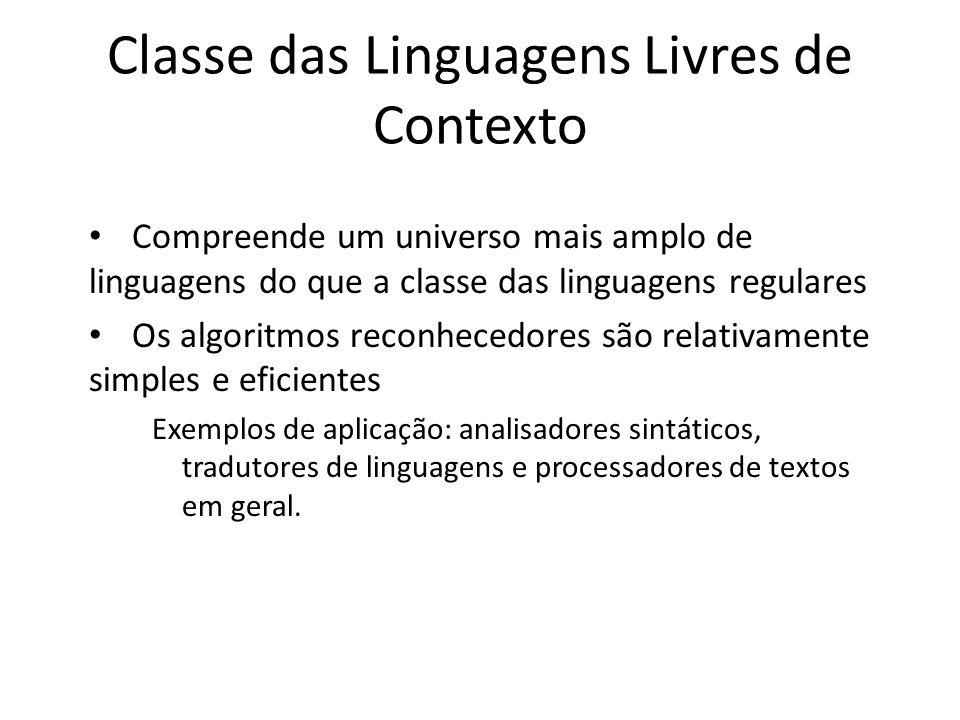 Classe das Linguagens Livres de Contexto Compreende um universo mais amplo de linguagens do que a classe das linguagens regulares Os algoritmos reconh