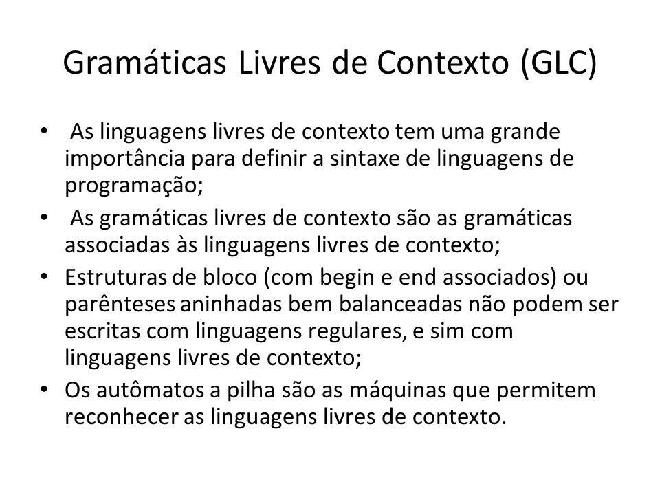 Gramáticas Livres de Contexto (GLC) As linguagens livres de contexto tem uma grande importância para definir a sintaxe de linguagens de programação; A