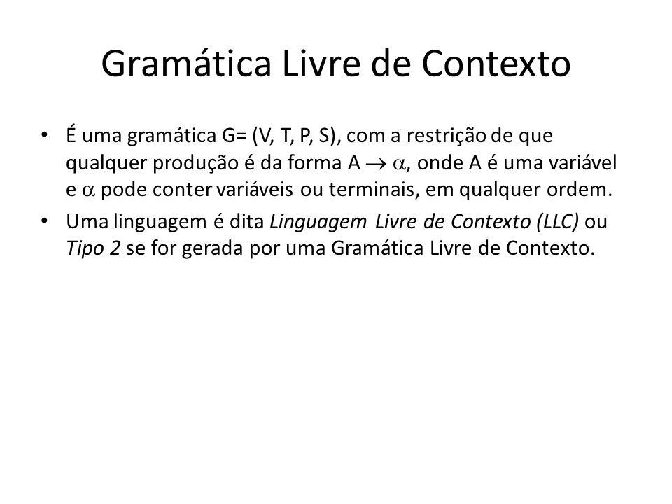 Gramática Livre de Contexto É uma gramática G= (V, T, P, S), com a restrição de que qualquer produção é da forma A, onde A é uma variável e pode conte