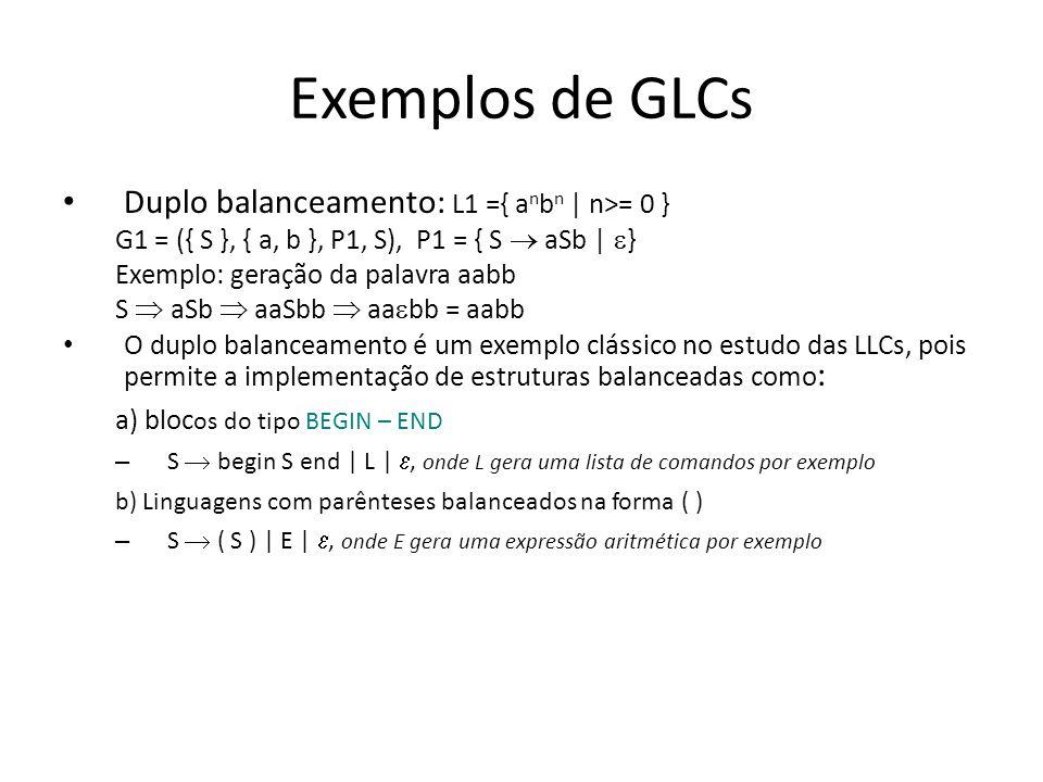 Exemplos Expressões com operadores e operandos simples G2 = ({ E }, { +, *, (, ), x }, P2, E), onde: P2 = { E E+E | E*E | (E) | x } a expressão (x+x)*x pode ser gerada pela seguinte seqüência de derivação: E E*E (E)*E (E+E)*E (x+E)*E (x+x)*E (x+x)*x Base para as gramáticas de operandos e expressões como: S S and S | S or S | not S | (S) | X X E > E | E E | True | False OBS: as regras para o símbolo E são as definidas acima