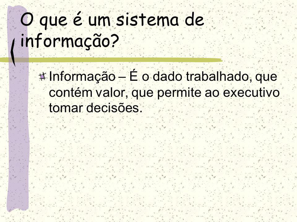 O que é um sistema de informação? Dado – É qualquer elemento identificado em sua forma bruta que por si só não conduz a uma compreensão de determinado