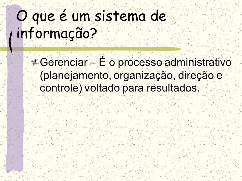 O que é um sistema de informação? Informação – É o dado trabalhado, que contém valor, que permite ao executivo tomar decisões.