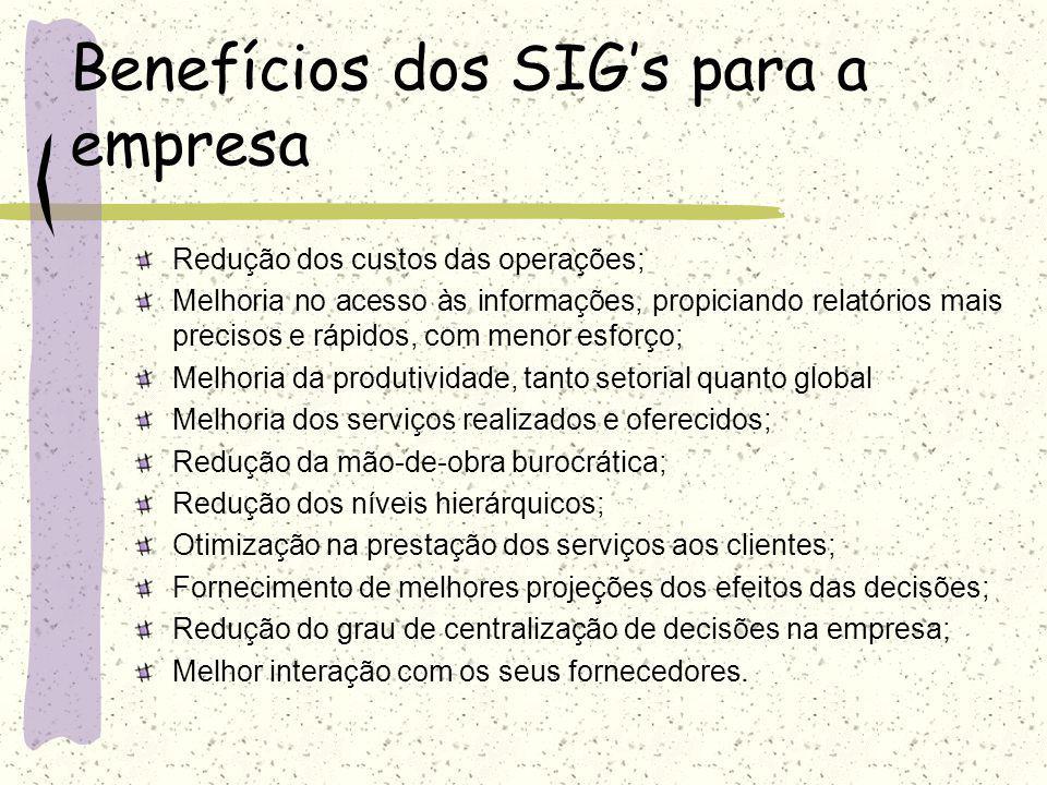O que é um sistema de informação? Agora temos dificuldades em definir e avaliar os benefícios de um SIG, mas podemos falar sobre o impacto dos SIGs na