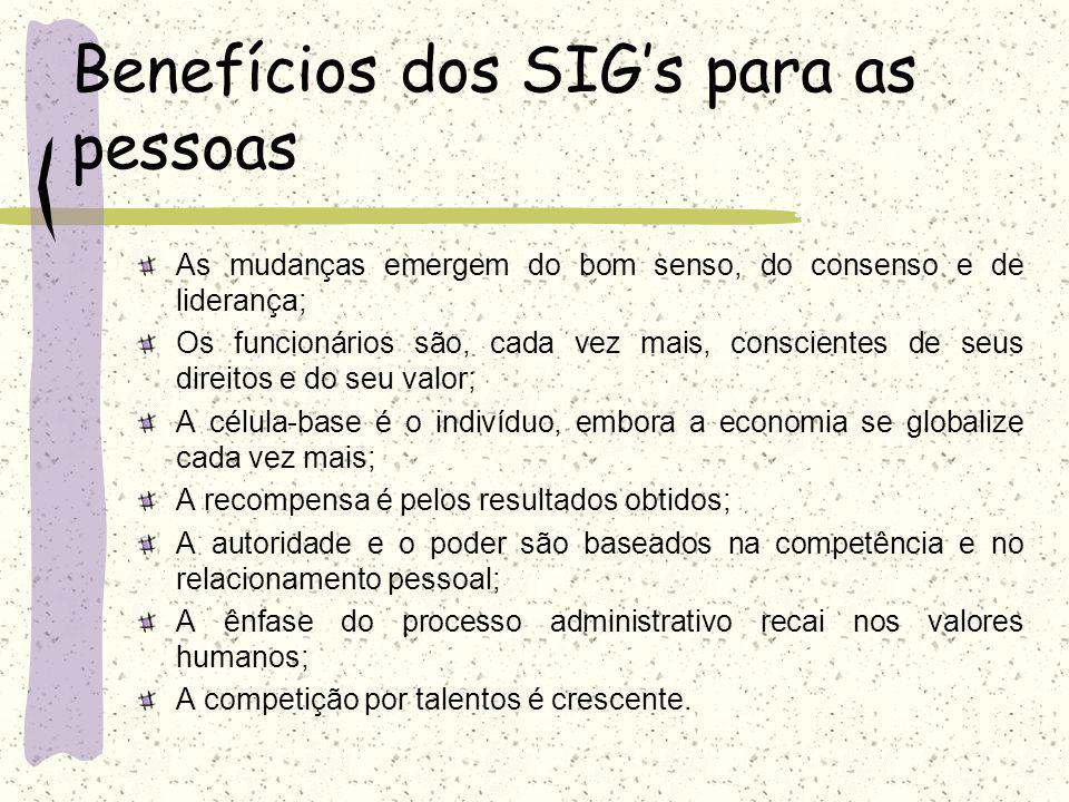 Benefícios dos SIGs para a empresa Redução dos custos das operações; Melhoria no acesso às informações, propiciando relatórios mais precisos e rápidos