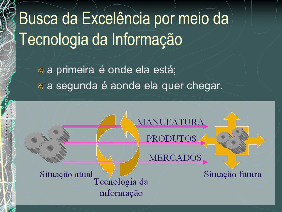 Busca da Excelência por meio da Tecnologia da Informação Geralmente, duas informações estão disponíveis, mesmo para as menores empresas: a primeira é onde ela está; a segunda é aonde ela quer chegar.