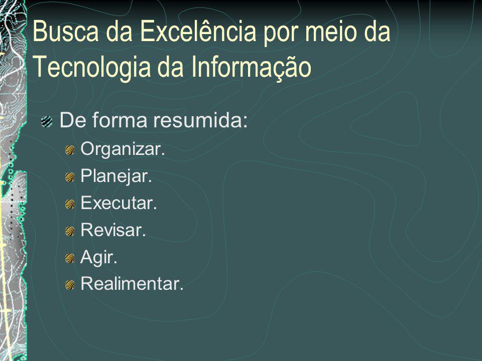 Busca da Excelência por meio da Tecnologia da Informação Uma metodologia é a que vamos aprender mais adiante.