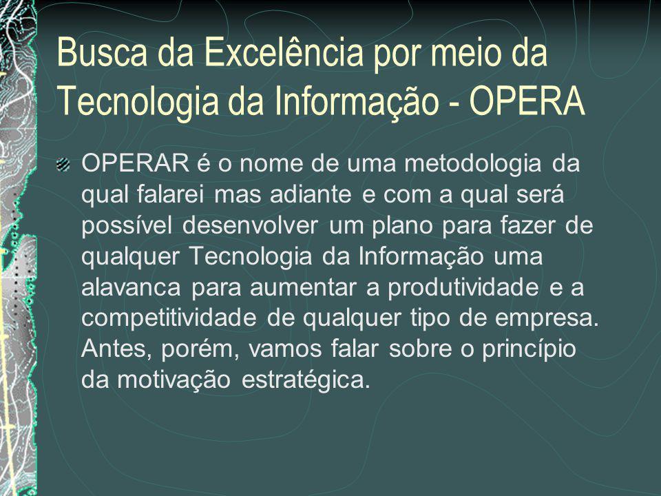 Busca da Excelência por meio da Tecnologia da Informação - OPERA Organizar as necessidades para que cada uma delas possa ser considerada dentro de um contexto de importância e prioridade.