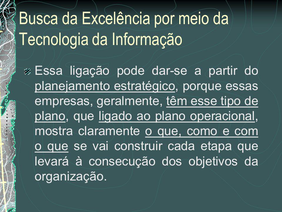 Busca da Excelência por meio da Tecnologia da Informação Em empresas de grande e médio porte...
