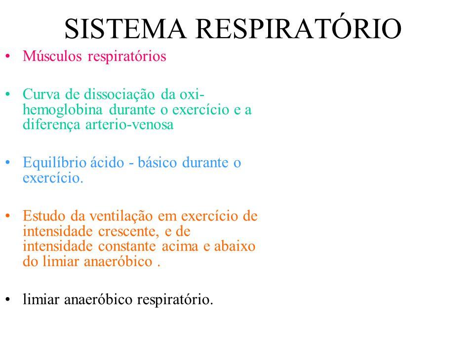 SISTEMA RESPIRATÓRIO Músculos respiratórios Curva de dissociação da oxi- hemoglobina durante o exercício e a diferença arterio-venosa Equilíbrio ácido