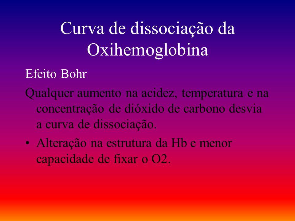 Curva de dissociação da Oxihemoglobina Efeito Bohr Qualquer aumento na acidez, temperatura e na concentração de dióxido de carbono desvia a curva de d