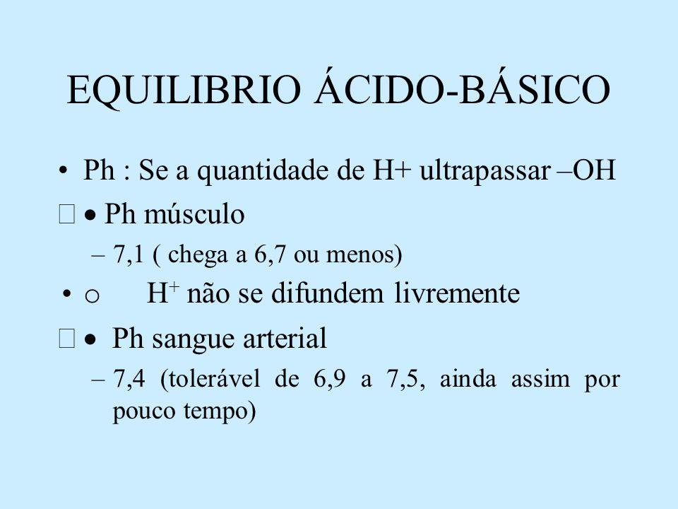 EQUILIBRIO ÁCIDO-BÁSICO Ph : Se a quantidade de H+ ultrapassar –OH Ph músculo –7,1 ( chega a 6,7 ou menos) o H + não se difundem livremente Ph sangue