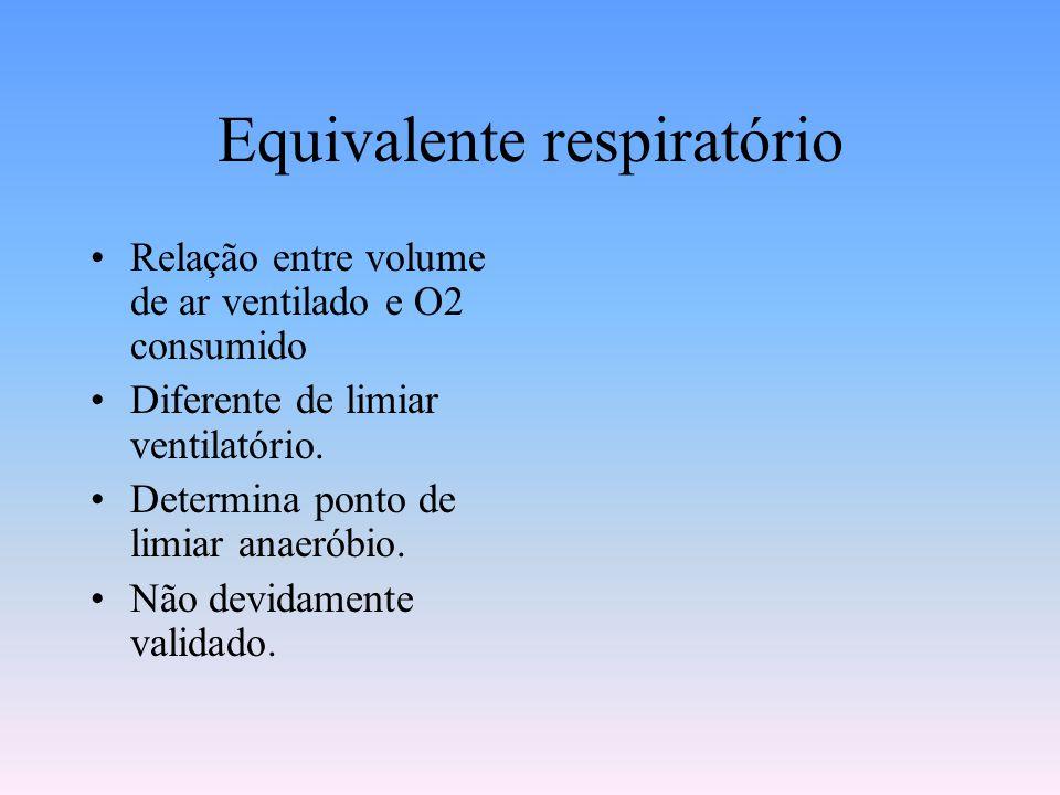 Equivalente respiratório Relação entre volume de ar ventilado e O2 consumido Diferente de limiar ventilatório. Determina ponto de limiar anaeróbio. Nã