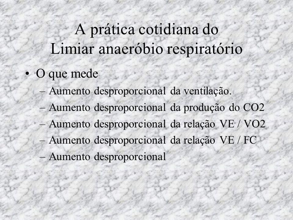 A prática cotidiana do Limiar anaeróbio respiratório O que mede –Aumento desproporcional da ventilação. –Aumento desproporcional da produção do CO2 –A