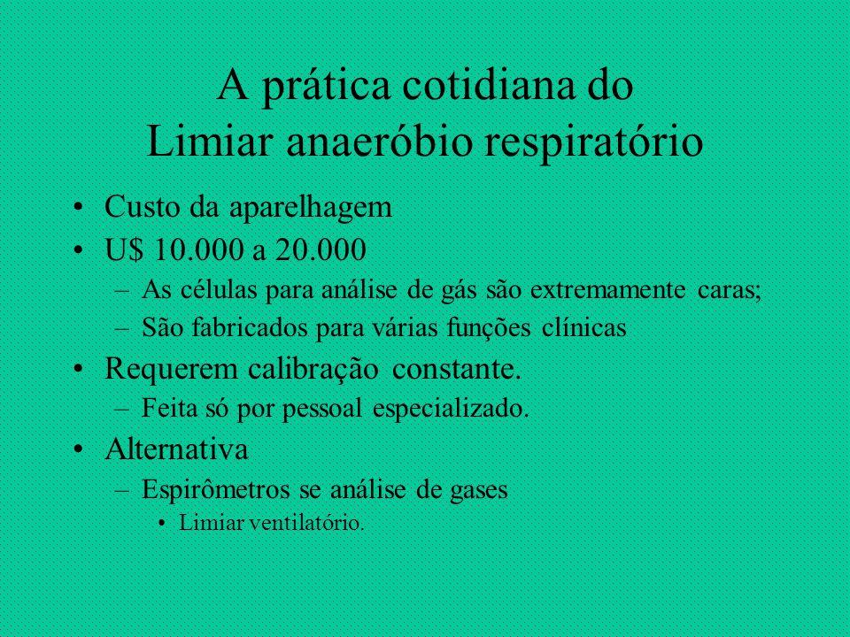 A prática cotidiana do Limiar anaeróbio respiratório Custo da aparelhagem U$ 10.000 a 20.000 –As células para análise de gás são extremamente caras; –
