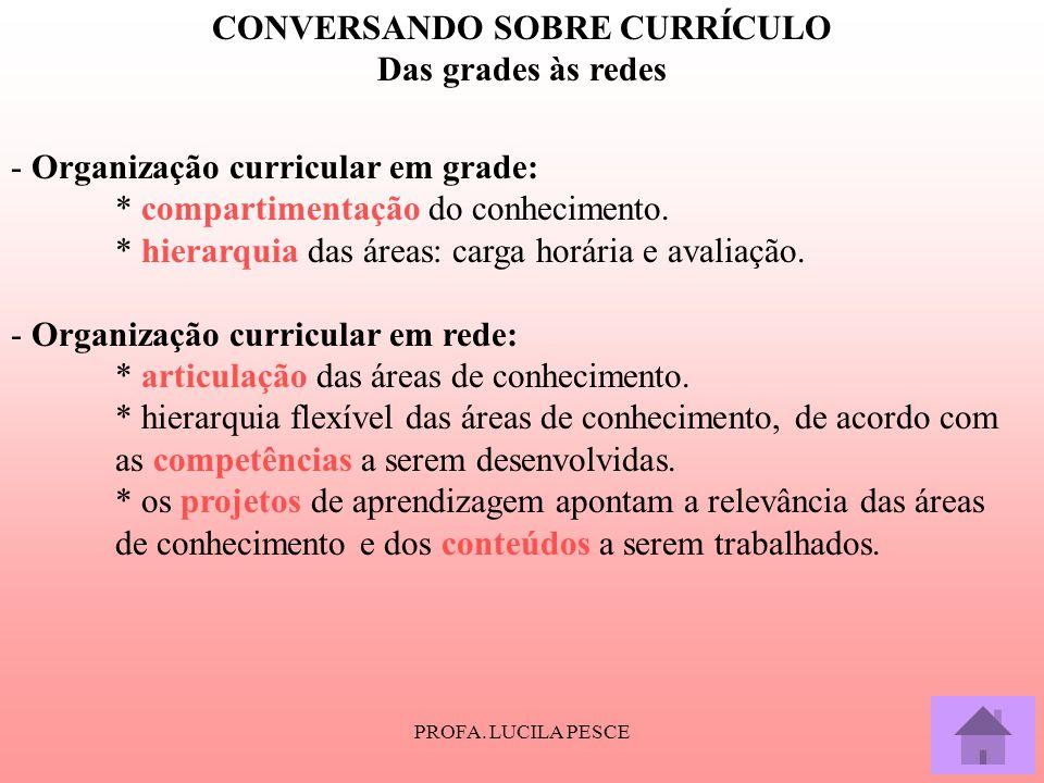 PROFA. LUCILA PESCE CONVERSANDO SOBRE CURRÍCULO Das grades às redes - Organização curricular em grade: * compartimentação do conhecimento. * hierarqui