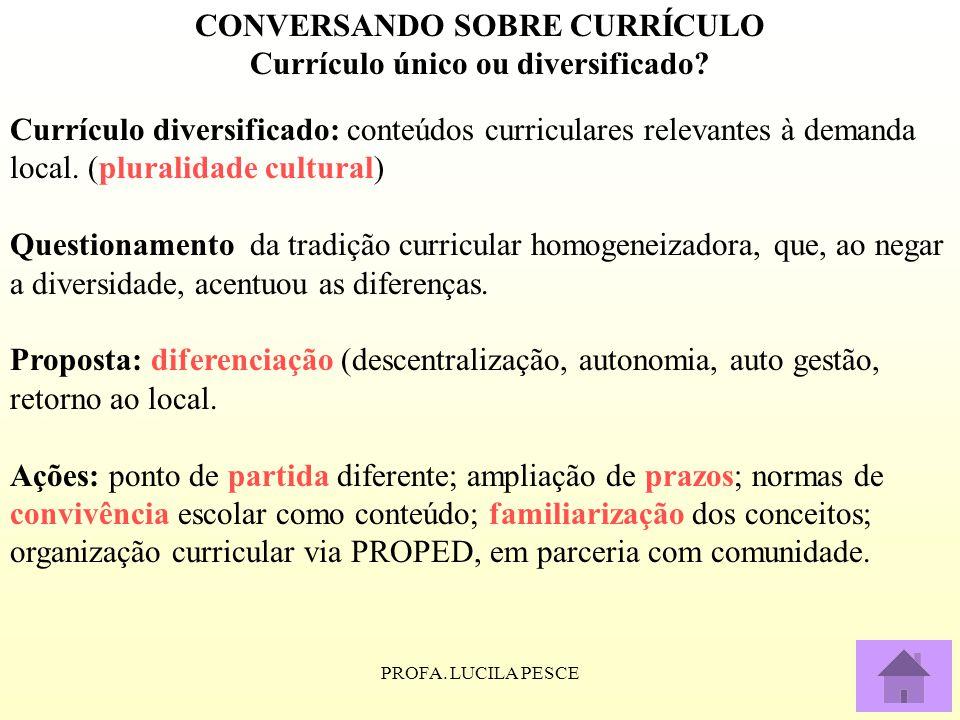 PROFA. LUCILA PESCE CONVERSANDO SOBRE CURRÍCULO Currículo único ou diversificado? Currículo diversificado: conteúdos curriculares relevantes à demanda