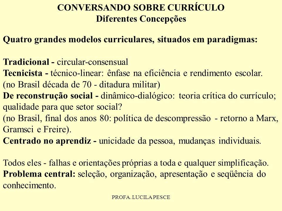 PROFA. LUCILA PESCE CONVERSANDO SOBRE CURRÍCULO Diferentes Concepções Quatro grandes modelos curriculares, situados em paradigmas: Tradicional - circu