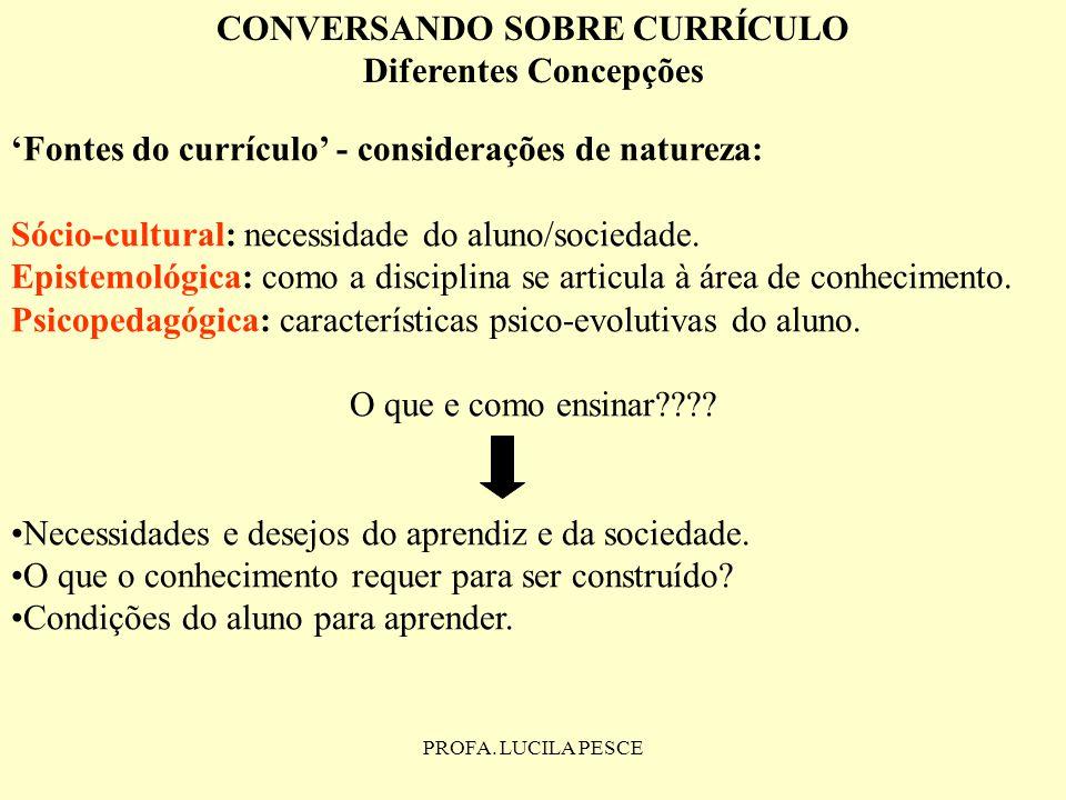 PROFA. LUCILA PESCE CONVERSANDO SOBRE CURRÍCULO Diferentes Concepções Fontes do currículo - considerações de natureza: Sócio-cultural: necessidade do