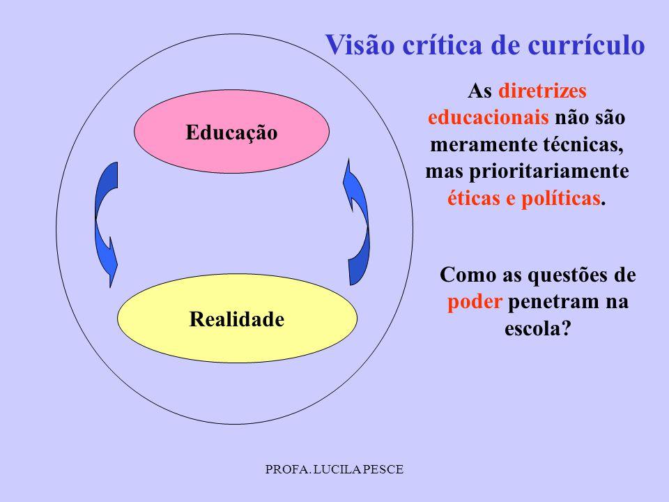 PROFA. LUCILA PESCE Educação Realidade Visão crítica de currículo Como as questões de poder penetram na escola? As diretrizes educacionais não são mer