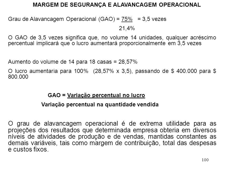 100 MARGEM DE SEGURANÇA E ALAVANCAGEM OPERACIONAL Grau de Alavancagem Operacional (GAO) = 75% = 3,5 vezes 21,4% O GAO de 3,5 vezes significa que, no volume 14 unidades, qualquer acréscimo percentual implicará que o lucro aumentará proporcionalmente em 3,5 vezes Aumento do volume de 14 para 18 casas = 28,57% O lucro aumentaria para 100% (28,57% x 3,5), passando de $ 400.000 para $ 800.000 GAO = Variação percentual no lucro Variação percentual na quantidade vendida O grau de alavancagem operacional é de extrema utilidade para as projeções dos resultados que determinada empresa obteria em diversos níveis de atividades de produção e de vendas, mantidas constantes as demais variáveis, tais como margem de contribuição, total das despesas e custos fixos.