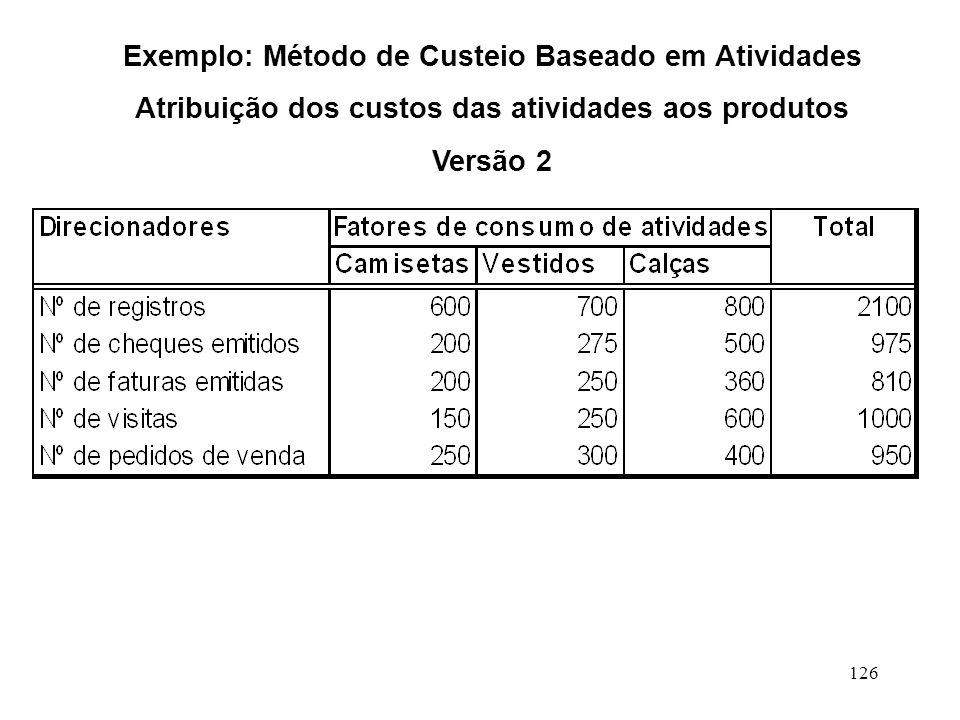 126 Exemplo: Método de Custeio Baseado em Atividades Atribuição dos custos das atividades aos produtos Versão 2