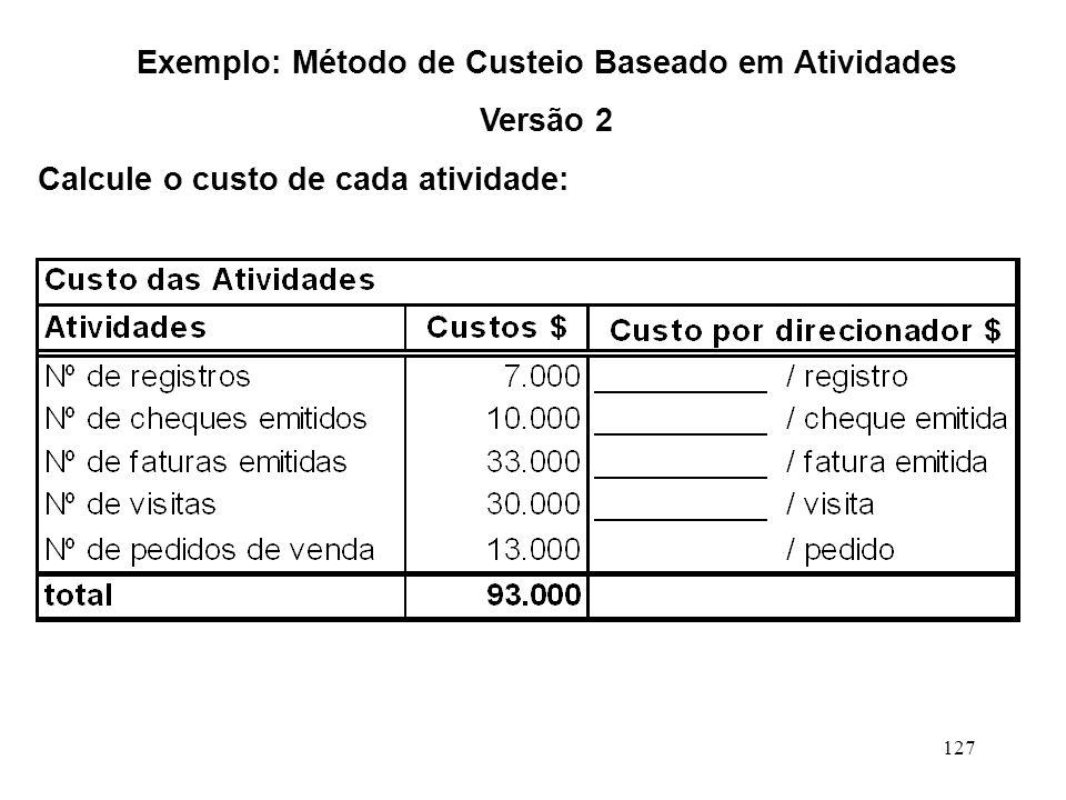 127 Exemplo: Método de Custeio Baseado em Atividades Versão 2 Calcule o custo de cada atividade: