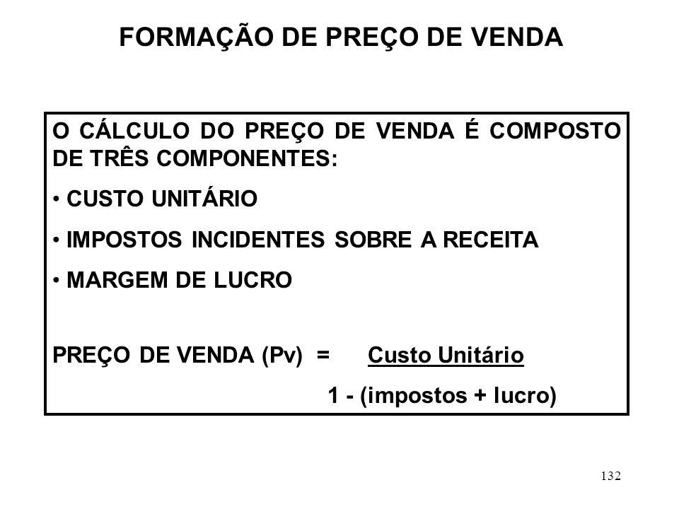 132 O CÁLCULO DO PREÇO DE VENDA É COMPOSTO DE TRÊS COMPONENTES: CUSTO UNITÁRIO IMPOSTOS INCIDENTES SOBRE A RECEITA MARGEM DE LUCRO PREÇO DE VENDA (Pv) = Custo Unitário 1 - (impostos + lucro) FORMAÇÃO DE PREÇO DE VENDA