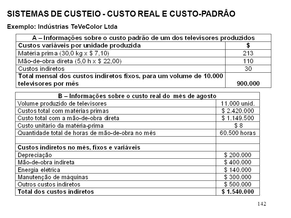 142 SISTEMAS DE CUSTEIO - CUSTO REAL E CUSTO-PADRÂO Exemplo: Indústrias TeVeColor Ltda