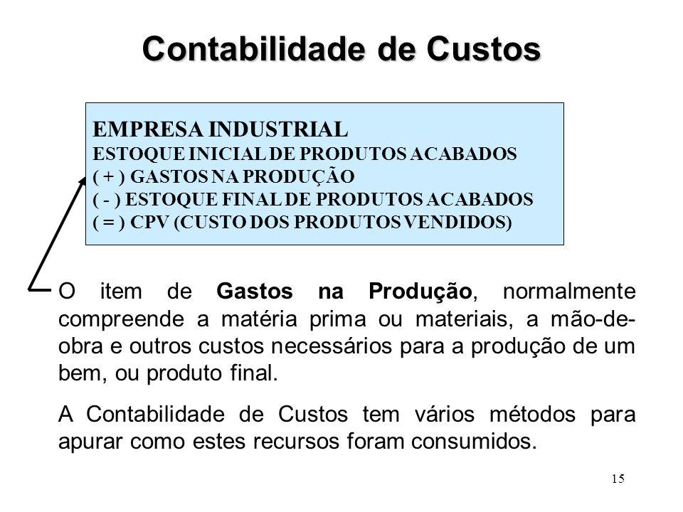 15 Contabilidade de Custos EMPRESA INDUSTRIAL ESTOQUE INICIAL DE PRODUTOS ACABADOS ( + ) GASTOS NA PRODUÇÃO ( - ) ESTOQUE FINAL DE PRODUTOS ACABADOS ( = ) CPV (CUSTO DOS PRODUTOS VENDIDOS) O item de Gastos na Produção, normalmente compreende a matéria prima ou materiais, a mão-de- obra e outros custos necessários para a produção de um bem, ou produto final.
