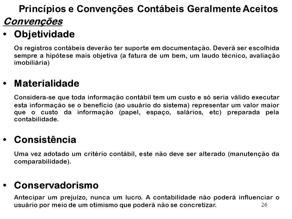 26 Princípios e Convenções Contábeis Geralmente Aceitos Convenções Objetividade Os registros contábeis deverão ter suporte em documentação.