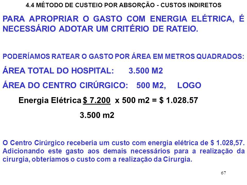 67 4.4 MÉTODO DE CUSTEIO POR ABSORÇÃO - CUSTOS INDIRETOS PARA APROPRIAR O GASTO COM ENERGIA ELÉTRICA, É NECESSÁRIO ADOTAR UM CRITÉRIO DE RATEIO.