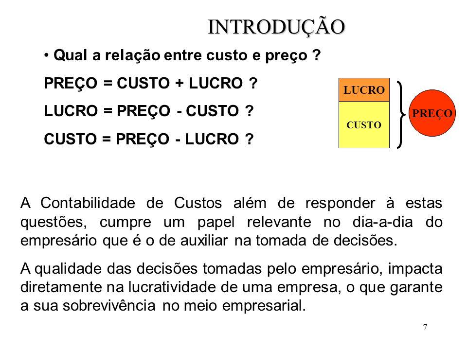 7 INTRODUÇÃO Qual a relação entre custo e preço .PREÇO = CUSTO + LUCRO .