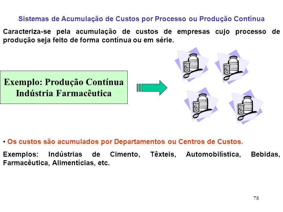 78 Sistemas de Acumulação de Custos por Processo ou Produção Contínua Caracteriza-se pela acumulação de custos de empresas cujo processo de produção seja feito de forma contínua ou em série.