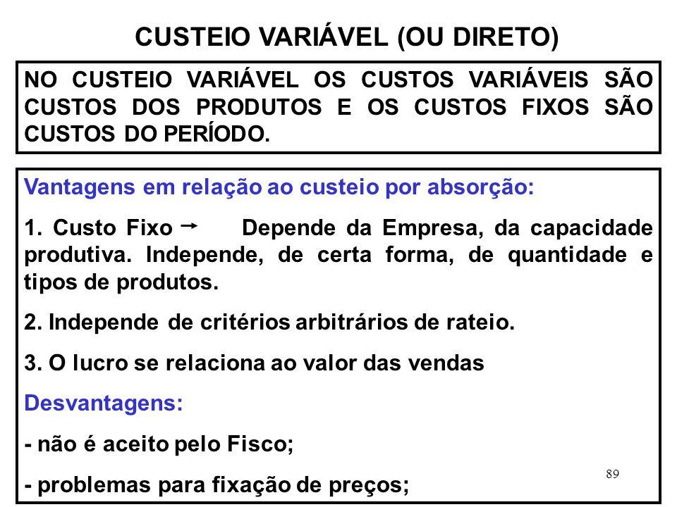 89 CUSTEIO VARIÁVEL (OU DIRETO) NO CUSTEIO VARIÁVEL OS CUSTOS VARIÁVEIS SÃO CUSTOS DOS PRODUTOS E OS CUSTOS FIXOS SÃO CUSTOS DO PERÍODO.