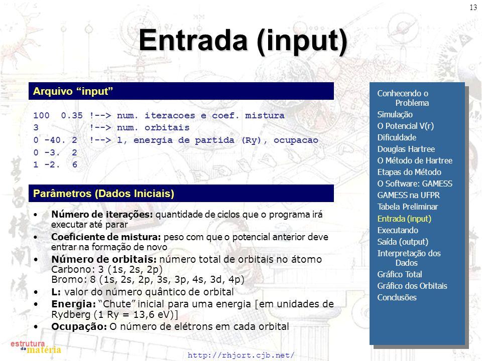 http://rhjort.cjb.net/ estrutura matéria da 13 Entrada (input) 100 0.35 !--> num. iteracoes e coef. mistura 3 !--> num. orbitais 0 -40. 2 !--> l, ener