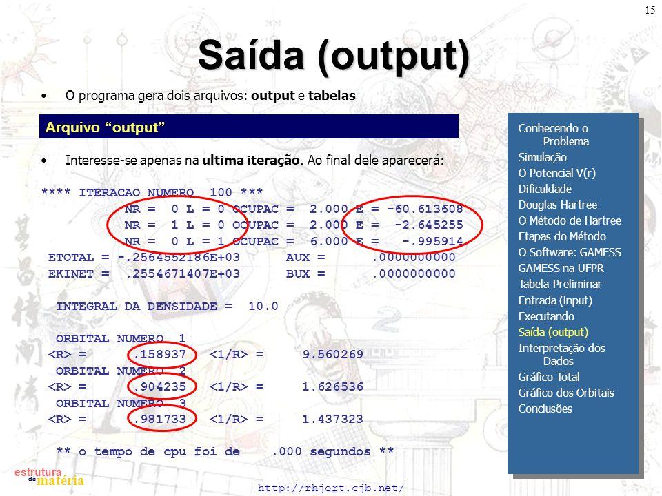 http://rhjort.cjb.net/ estrutura matéria da 15 Saída (output) O programa gera dois arquivos: output e tabelas Interesse-se apenas na ultima iteração.