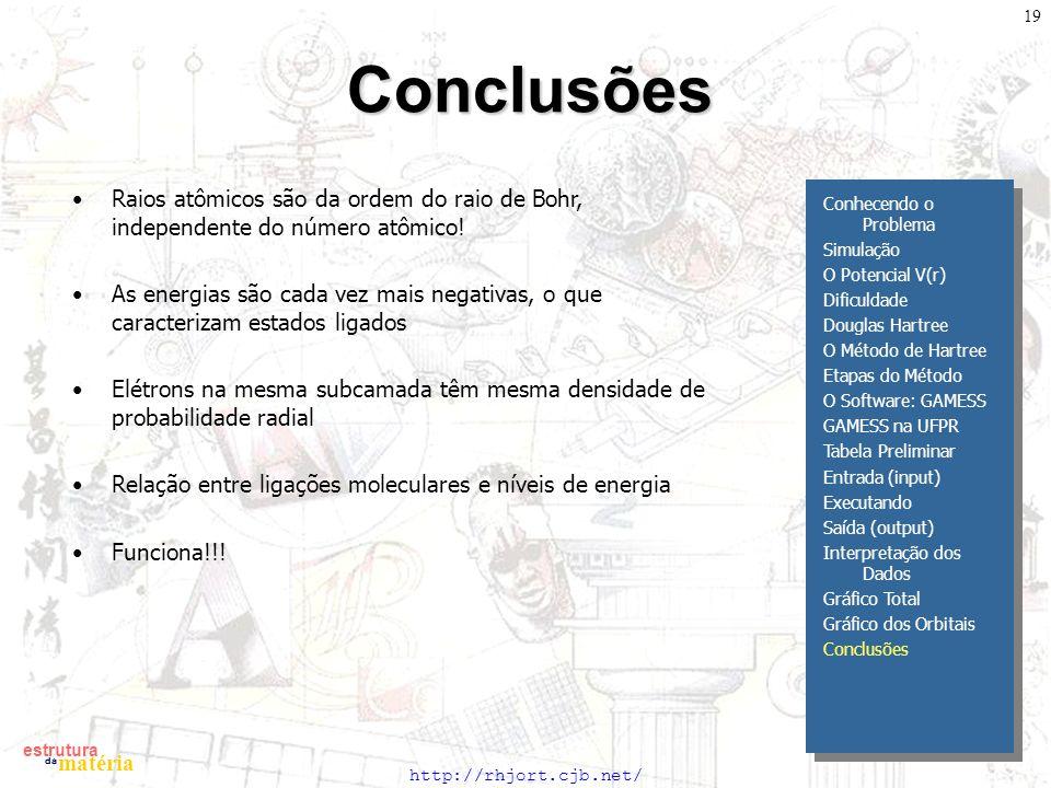 http://rhjort.cjb.net/ estrutura matéria da 19Conclusões Conhecendo o Problema Simulação O Potencial V(r) Dificuldade Douglas Hartree O Método de Hart