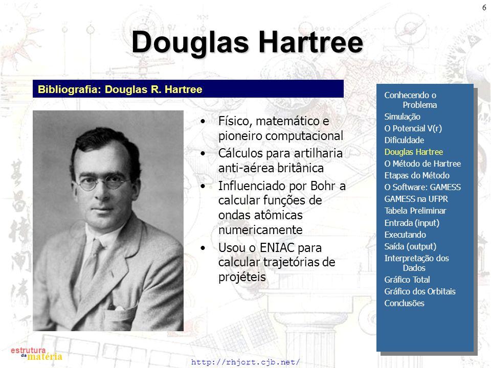 http://rhjort.cjb.net/ estrutura matéria da 6 Douglas Hartree Bibliografia: Douglas R. Hartree Físico, matemático e pioneiro computacional Cálculos pa