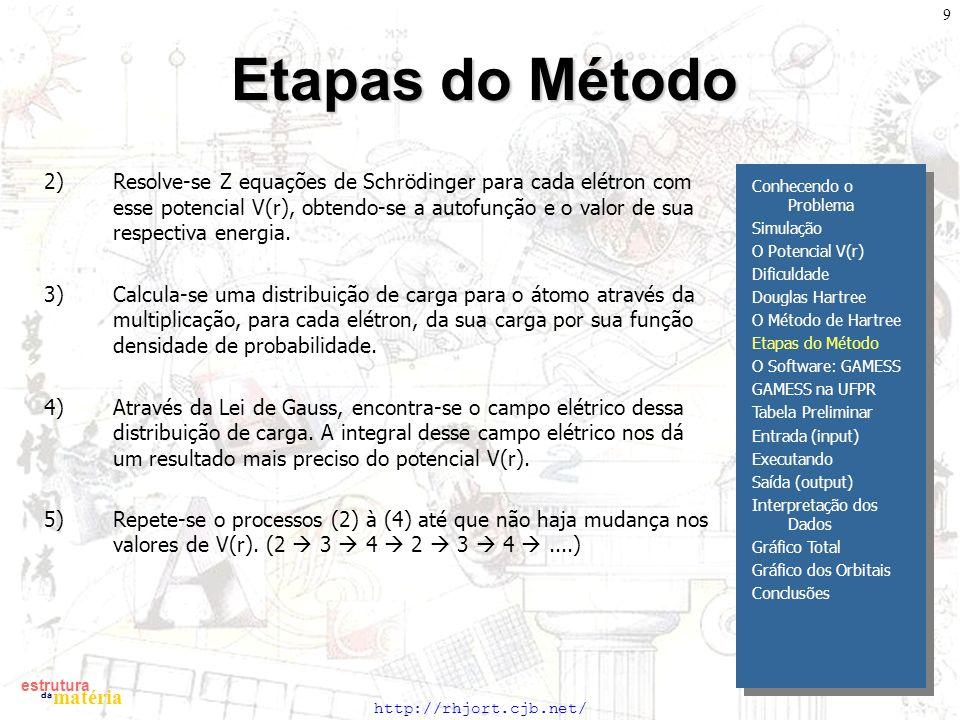 http://rhjort.cjb.net/ estrutura matéria da 9 Etapas do Método 2)Resolve-se Z equações de Schrödinger para cada elétron com esse potencial V(r), obtendo-se a autofunção e o valor de sua respectiva energia.