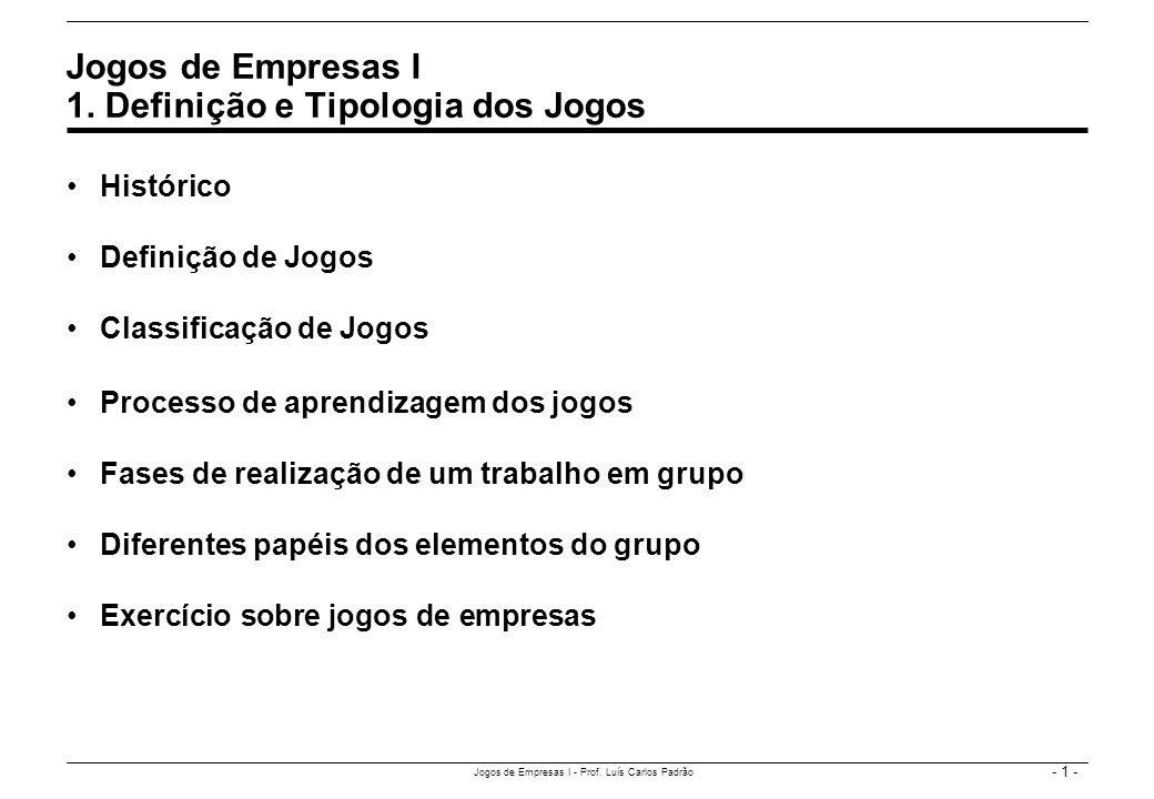 - 1 - Jogos de Empresas I - Prof. Luís Carlos Padrão Histórico Definição de Jogos Classificação de Jogos Processo de aprendizagem dos jogos Fases de r