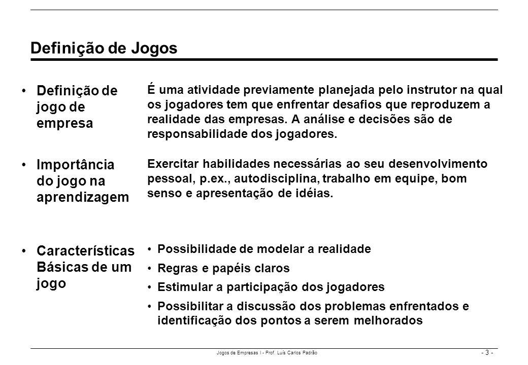 - 3 - Jogos de Empresas I - Prof. Luís Carlos Padrão Definição de jogo de empresa Definição de Jogos É uma atividade previamente planejada pelo instru