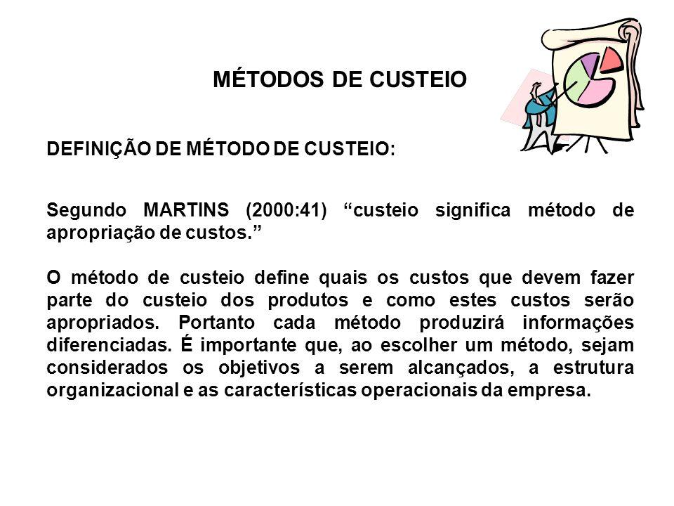 MÉTODOS DE CUSTEIO Os métodos mais conhecidos são: a) RKW também conhecido como Custeio Integral ou Custeio Pleno; b) Custeio por Absorção; c) Custeio Baseado em Atividades (ABC - Activity Based Costing); d) Custeio Variável também conhecido como Custeio Direto.