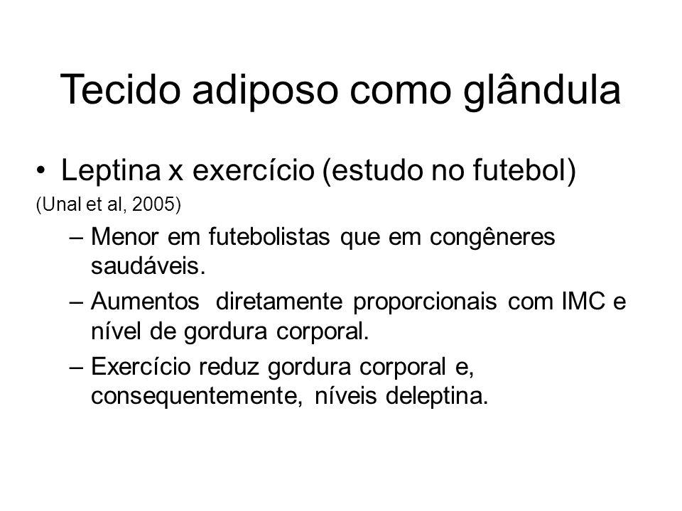 Tecido adiposo como glândula Leptina x exercício (estudo no futebol) (Unal et al, 2005) –Menor em futebolistas que em congêneres saudáveis. –Aumentos